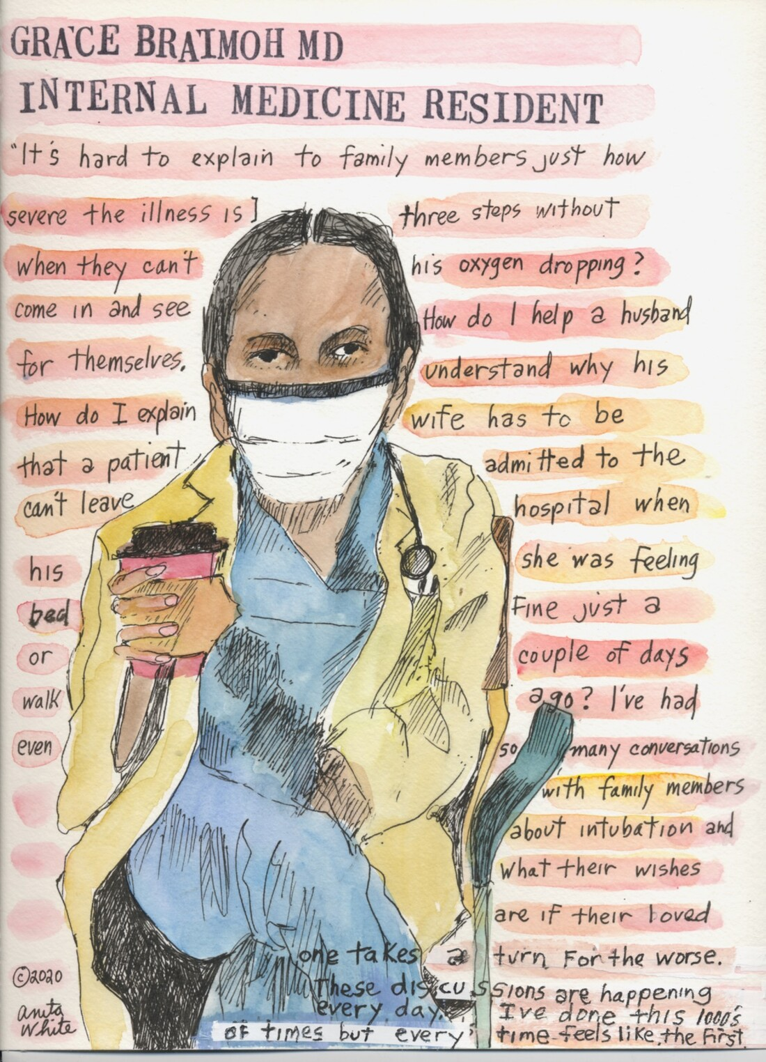 watercolor painting of a masked health care worker, holding a cup of coffee, over a narrative of her thoughts on being on the front line of the COVID-19 pandemic