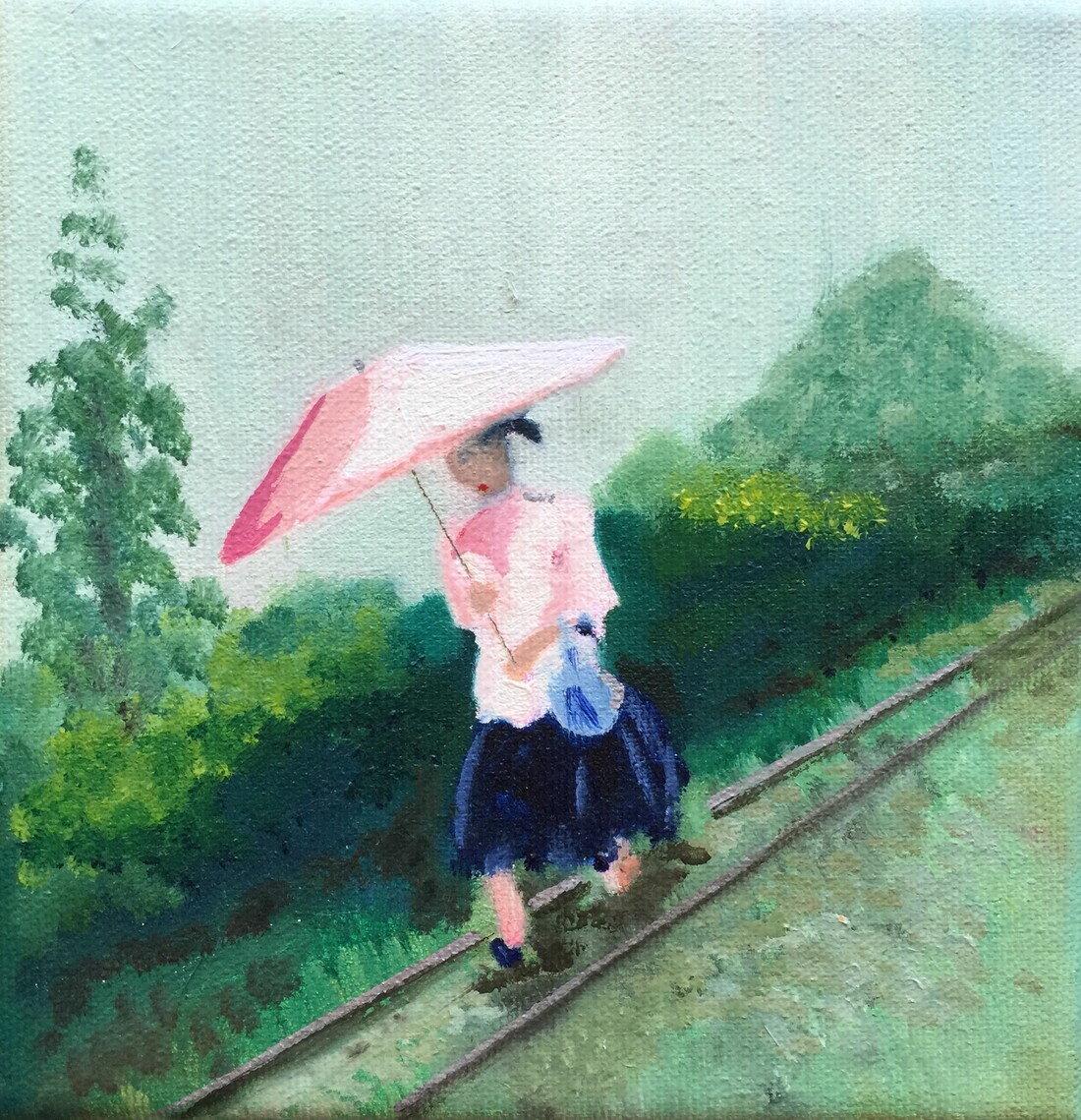 Painting of a woman under a pink umbrella walking along train tracks