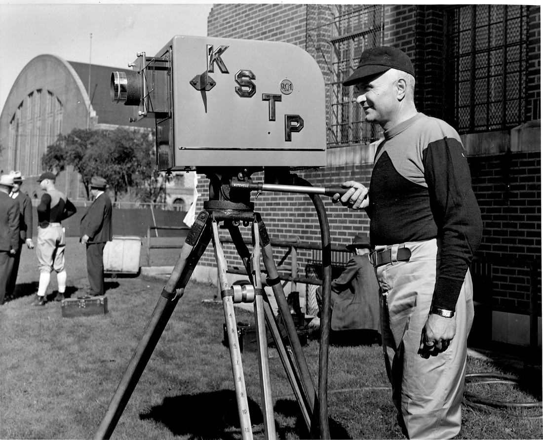 Historic photo of KSTP camera man circa 1939.