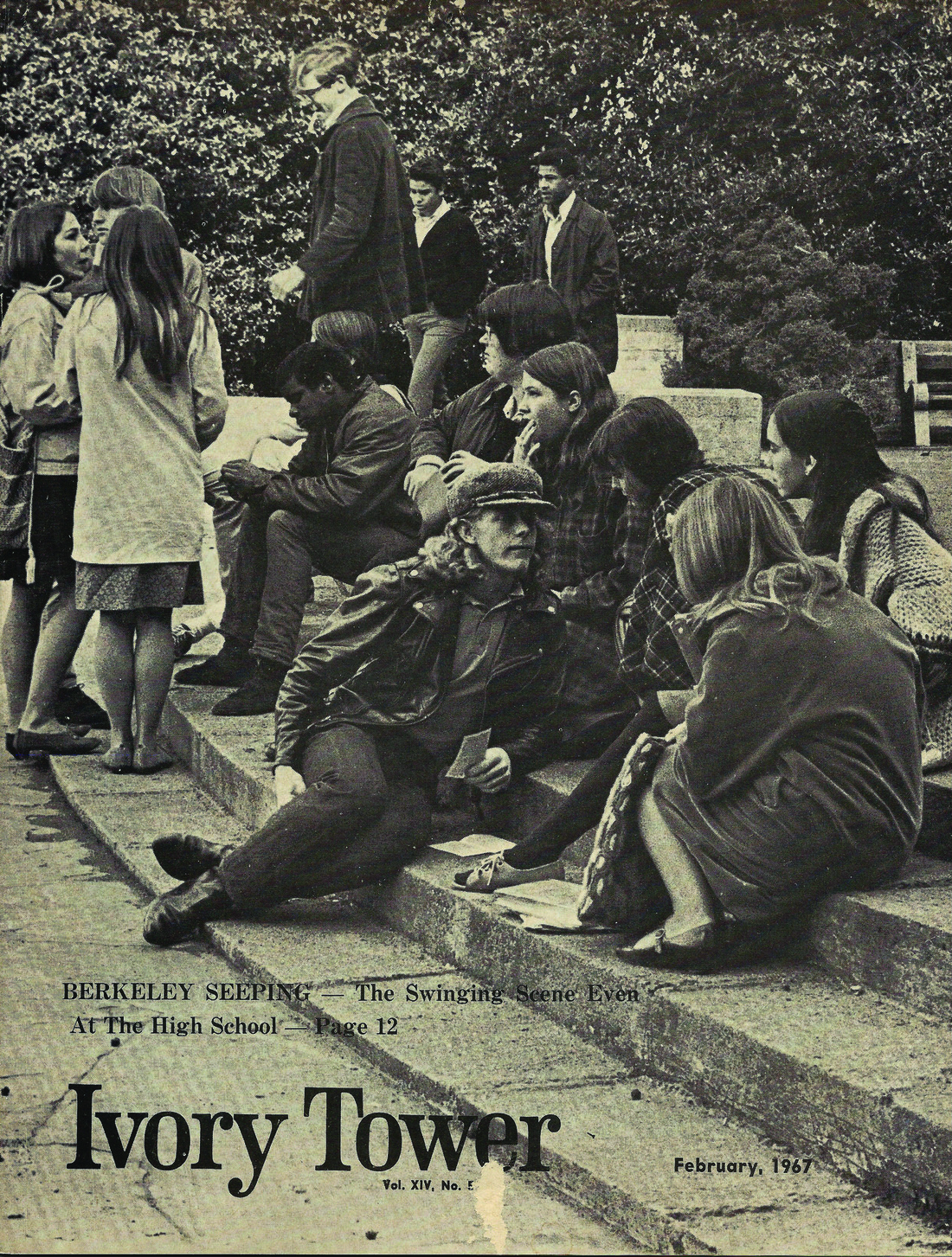 Photo of students sitting on steps circa 1967