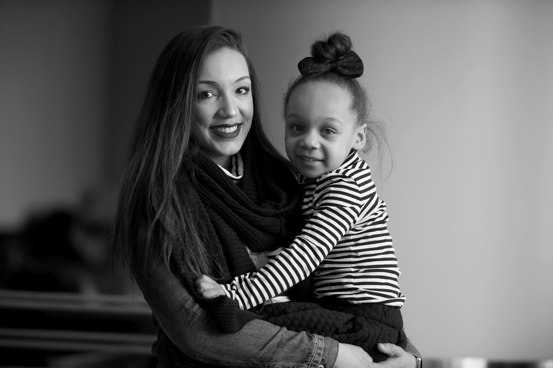 U of M student Kierra Mickelson with daughter Sophia Mickelson-Bennett, 4.