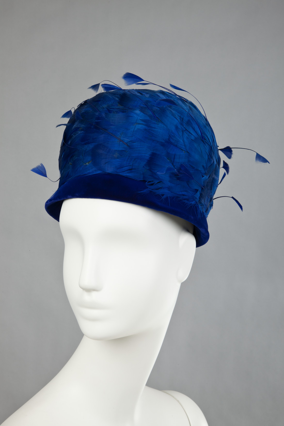 Image of blue feathered hat