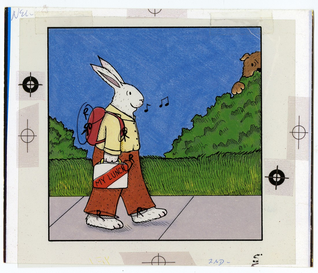Image of a rabbit carrying a lunch box