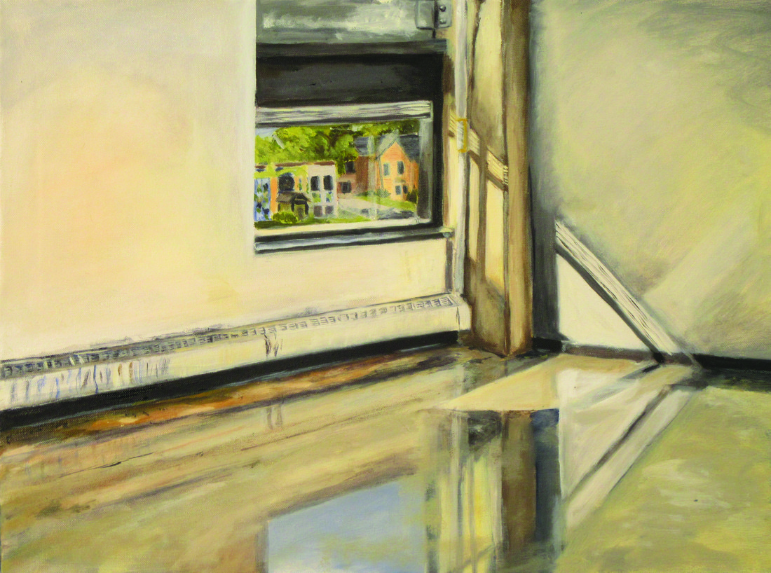 Painting of inside of a room looking out a window onto the street