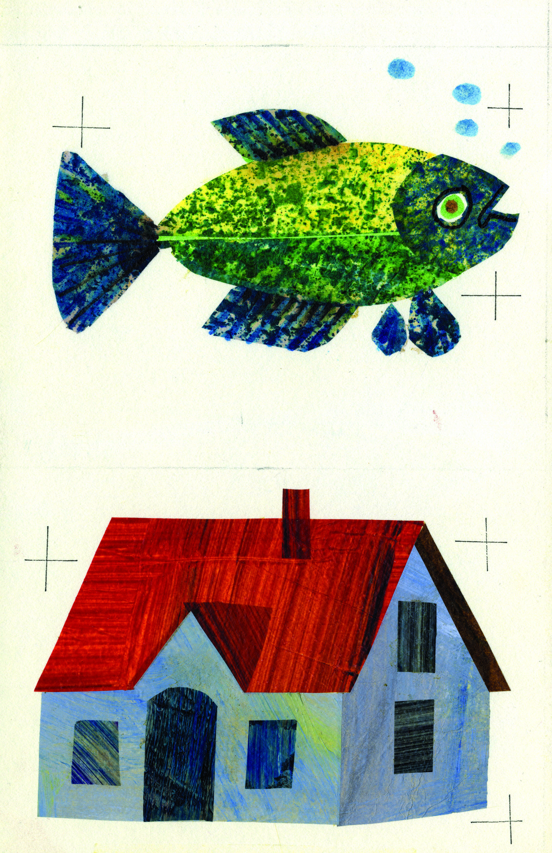 Image of a fish on top and of a house on the bottom