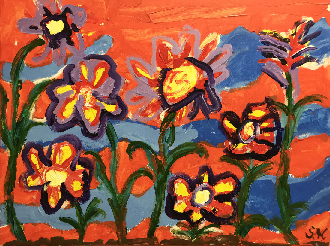 Painting of flowers against an orange sky