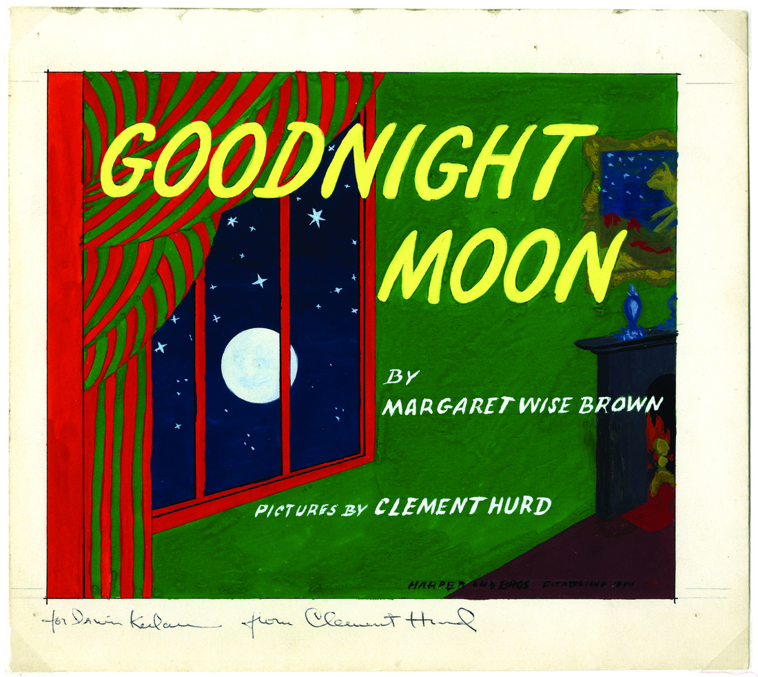 Cover of the 1947 children's book Goodnight Moon. Image shows the moon outside a window.