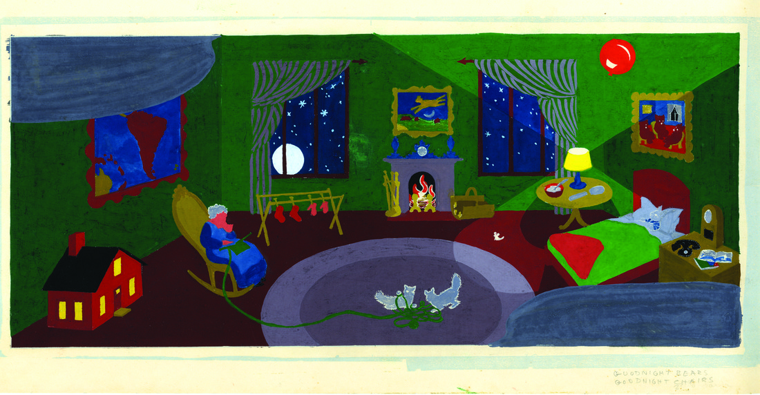 Image of bedroom in Goodnight moon. Note the map on the wall.