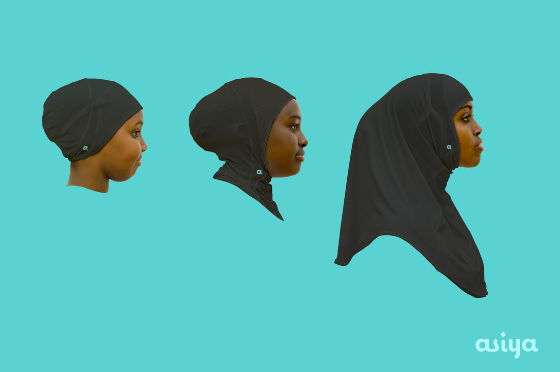 Asiya's three styles of sports hijabs