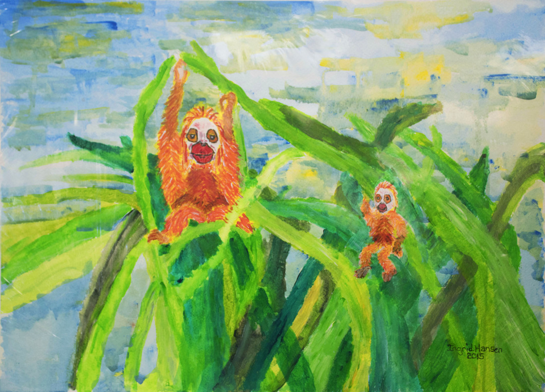 Painting of golden monkeys in trees
