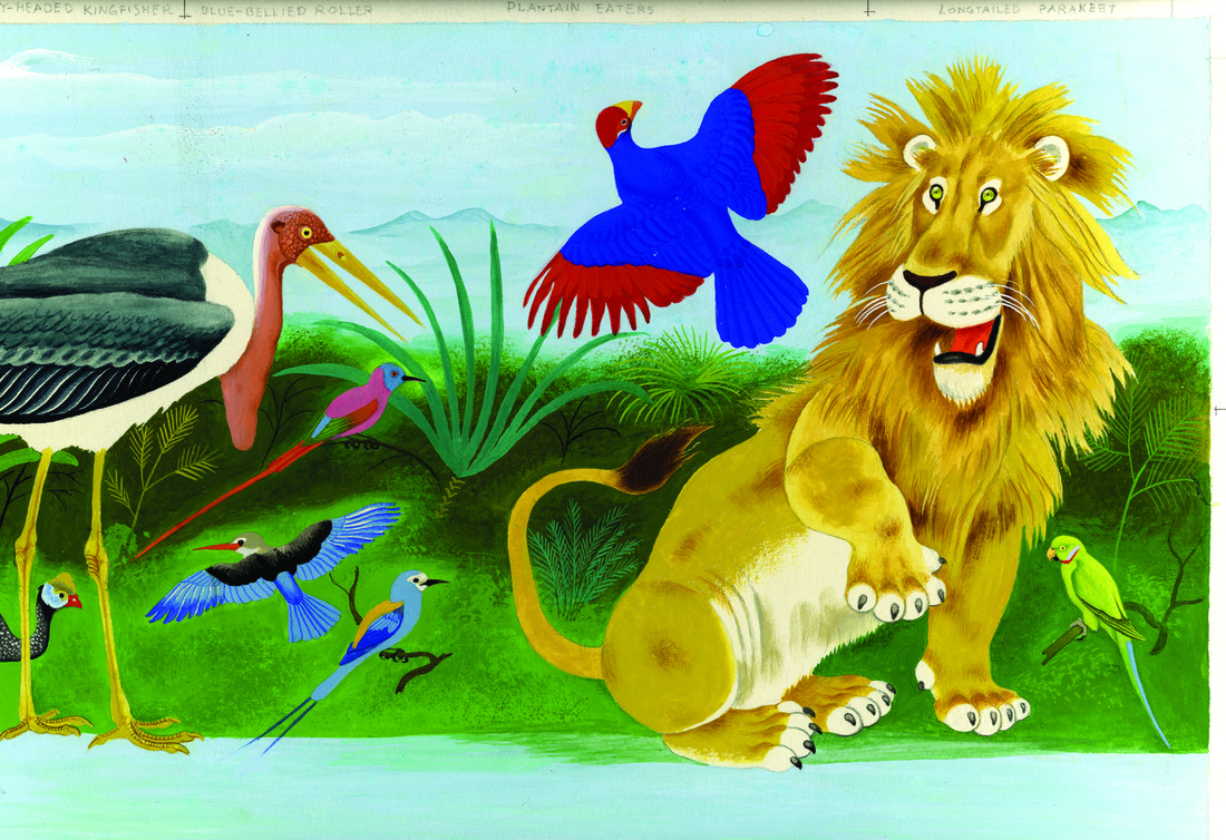 Painting of lion and birds