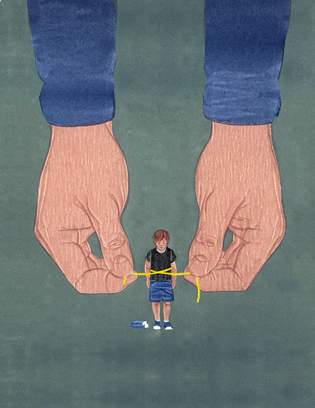 illustraton of hands tying a tape measure around a boy's waist