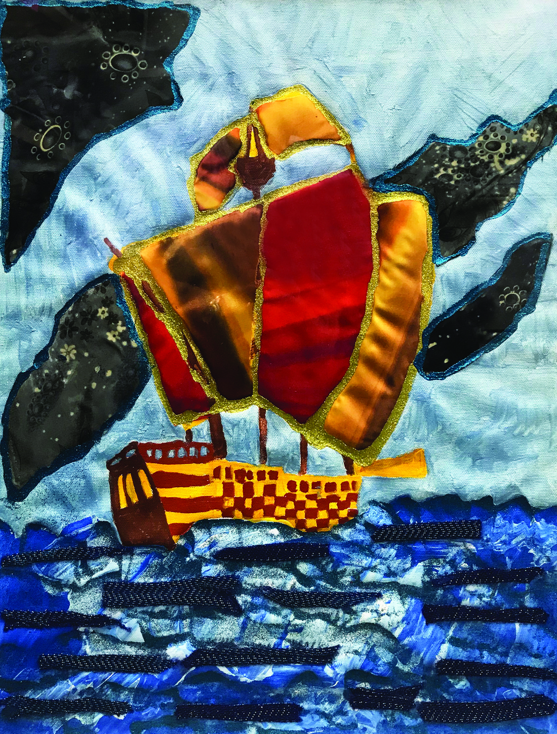 Painting of ship with billowing sails
