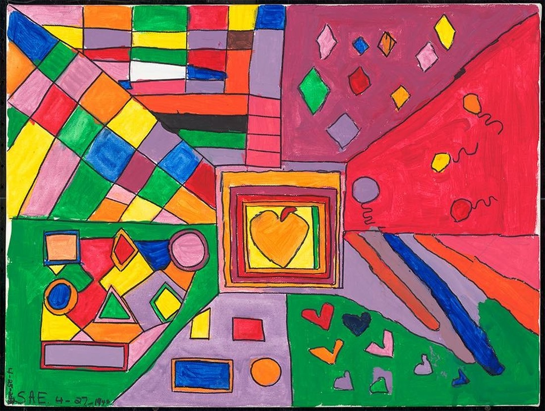 Abstract painting of hearts, balloons