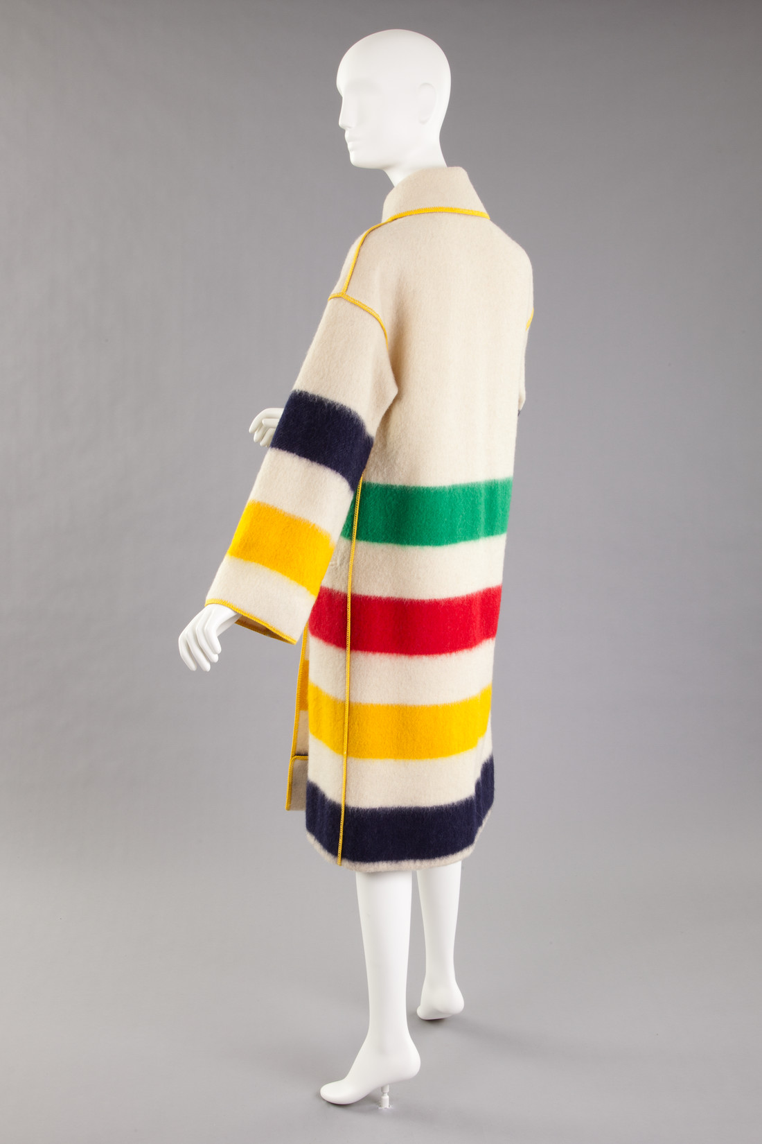 Image of striped coat made from Hudson Bay blanket