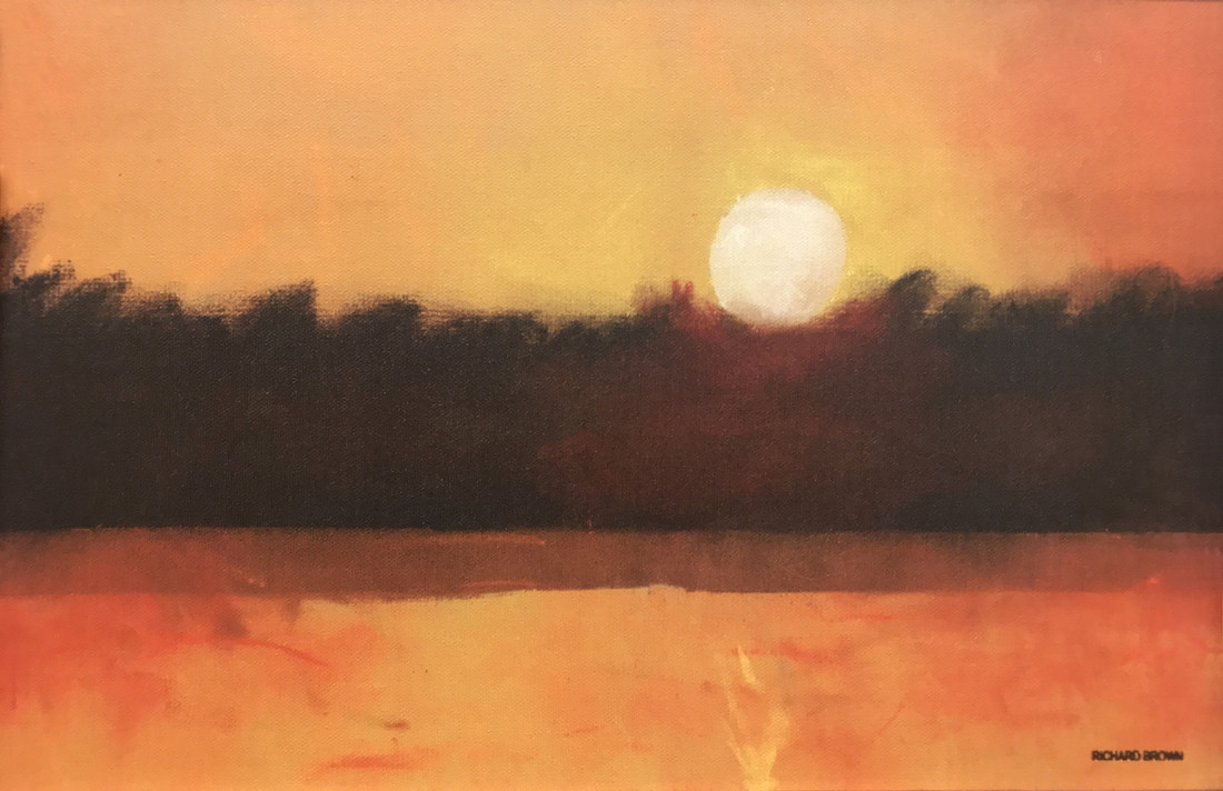 Painting of a sunset over a lake