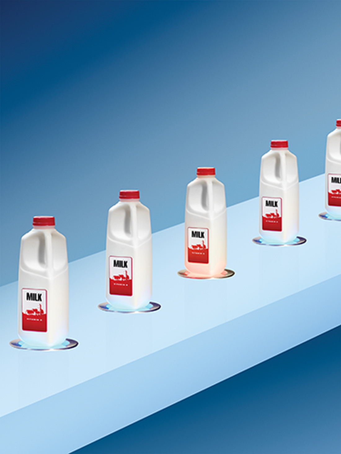 Line of milk bottles with one showing itself as being spoiled