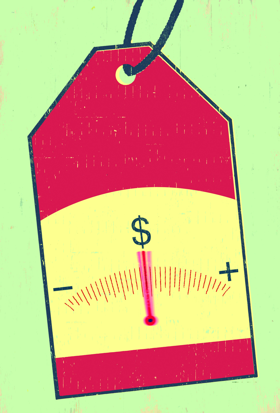 Image of a price tag with a plus and minus sign and a needle in the middle