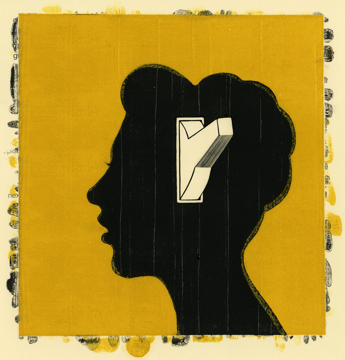 Silhouette of a woman's head with a light switch in the center of it