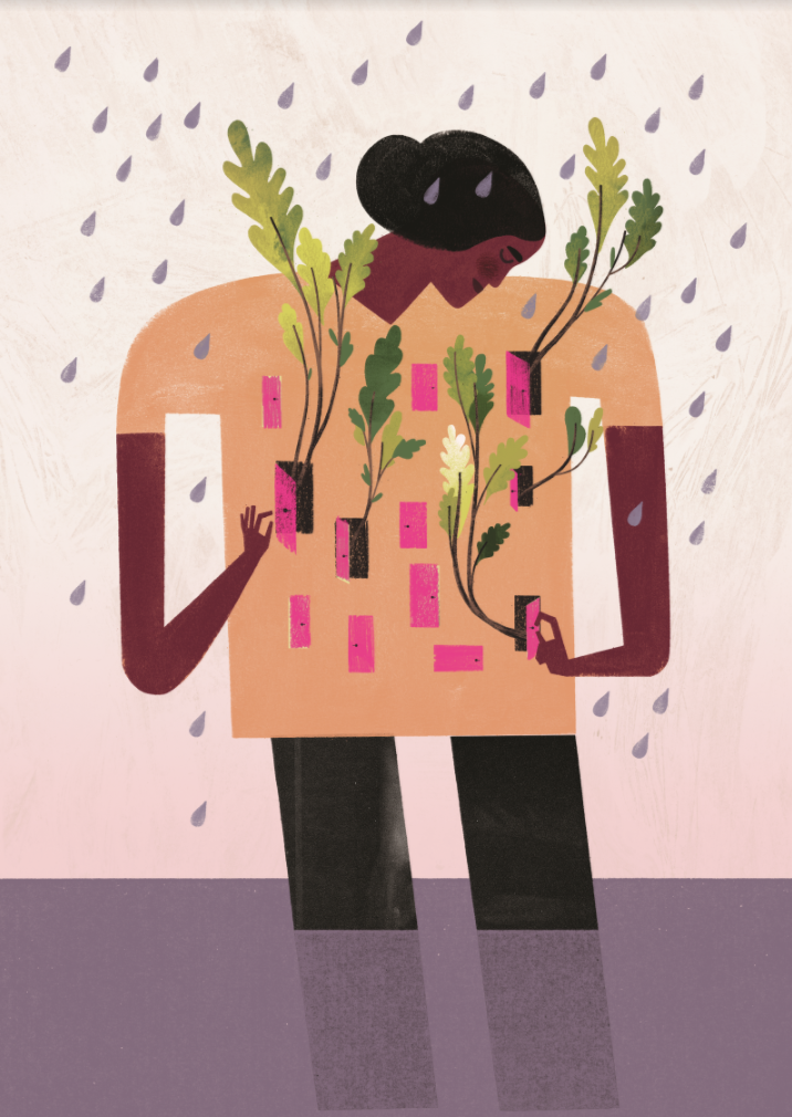 Abstract drawing of a woman in the rain with plants