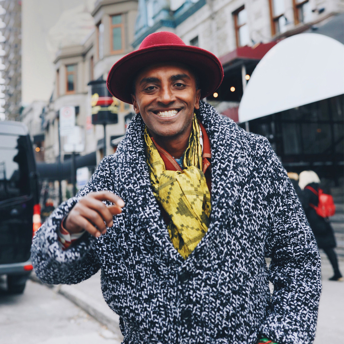 Marcus Samuelsson on the streets of Harlem in New York
