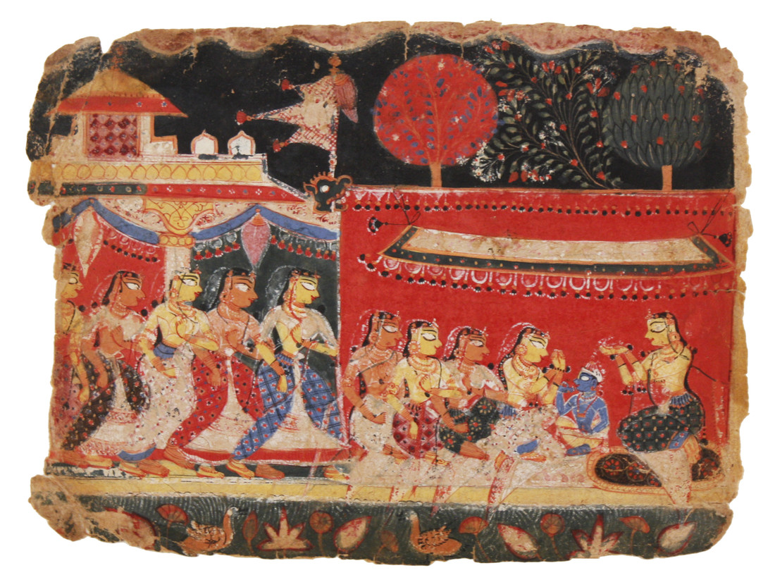Unknown artist; North India; Leaf from a Bhagavata Purana series: The Cowherd Women of Vraja Observing the Vow of Katyayani, ca. 1520–1530. Opaque color on paper, 6 3/4 x 9 in (17.1 x 22.9 cm) Museum purchase with Curriculum Support Fund, 1994.11