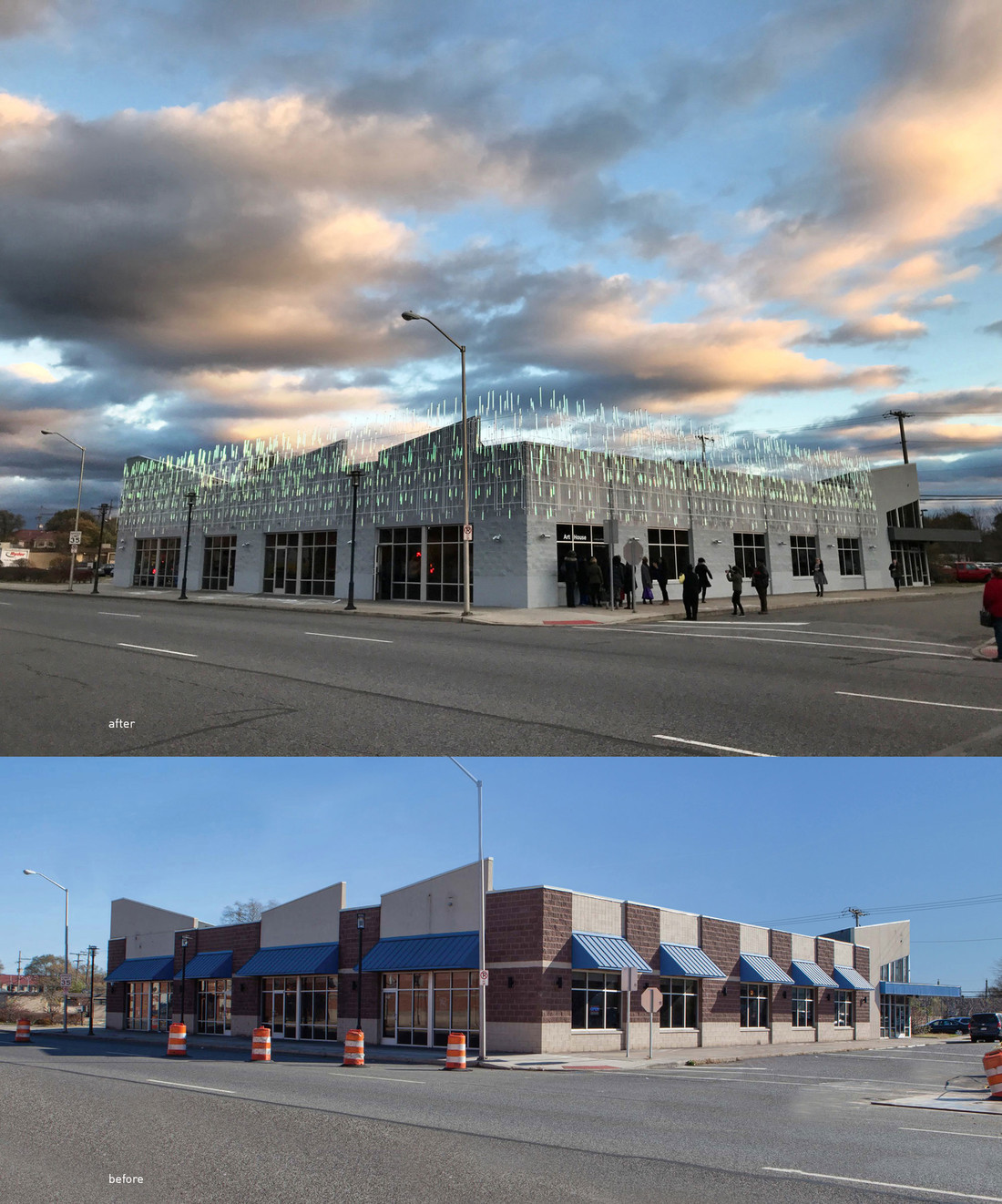 Before and after images of ArtHouse in Gary, Indiana