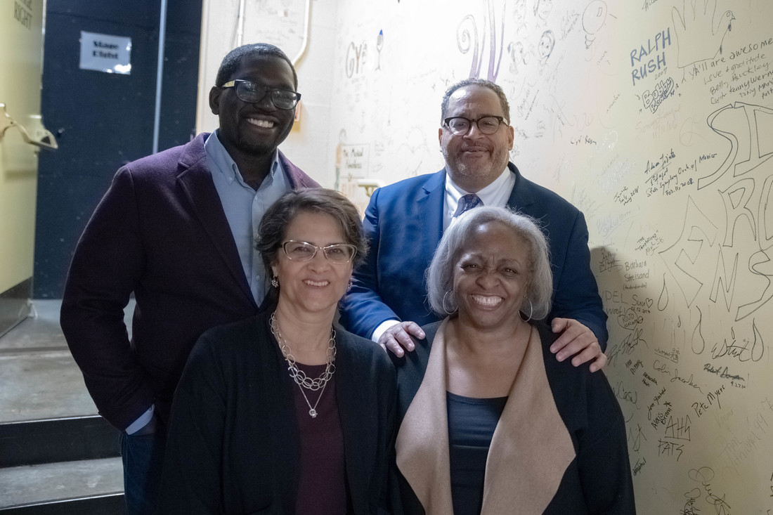 From top left, clockwise: Jamelle Bouie, Michael Eric Dyson, Carol Anderson, and Martha S. Jones backstage at The Paramount Theater before All of Our Rights during the 2019 Virginia Festival of the Book.