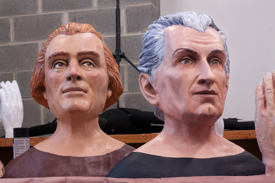 Two presidents faces by Big Head Brigade: Jefferson and Madison