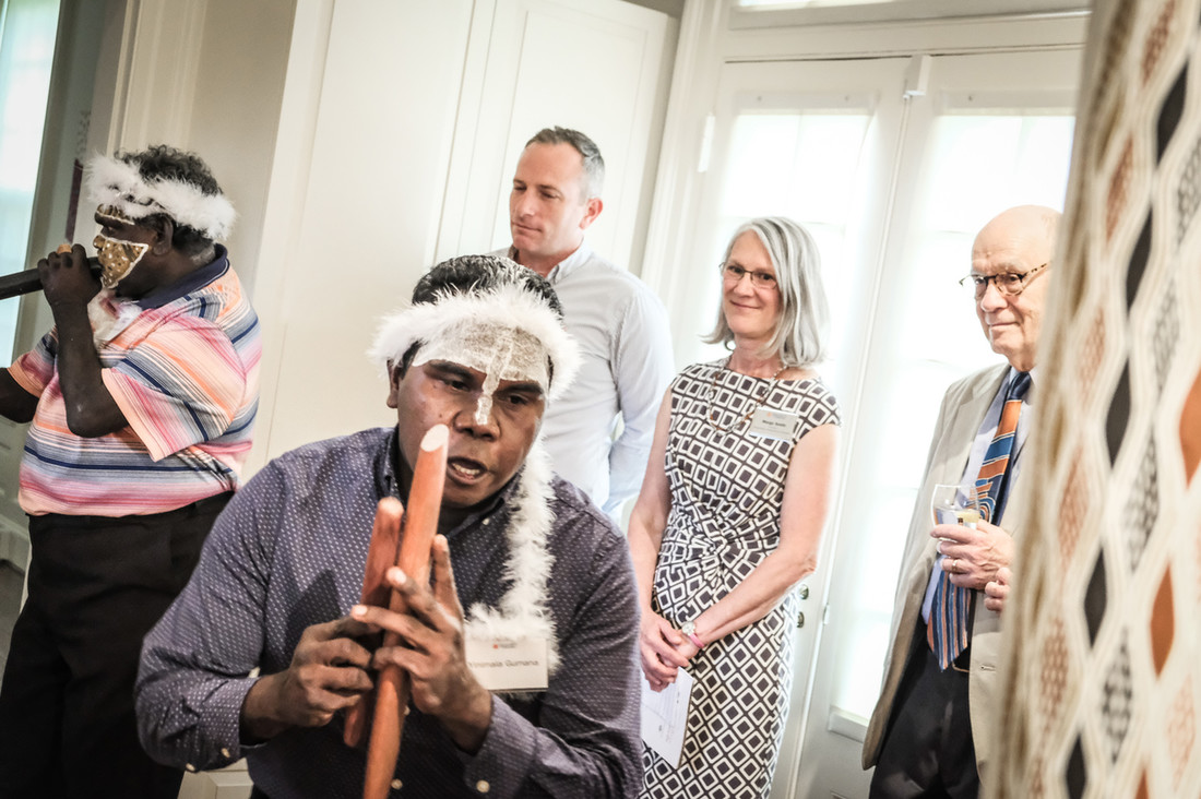 Yinimala Gumana and Wukun Wanambi performing traditional Yolngu songs at a reception for UVA Arts Council at the Kluge-Ruhe Collection