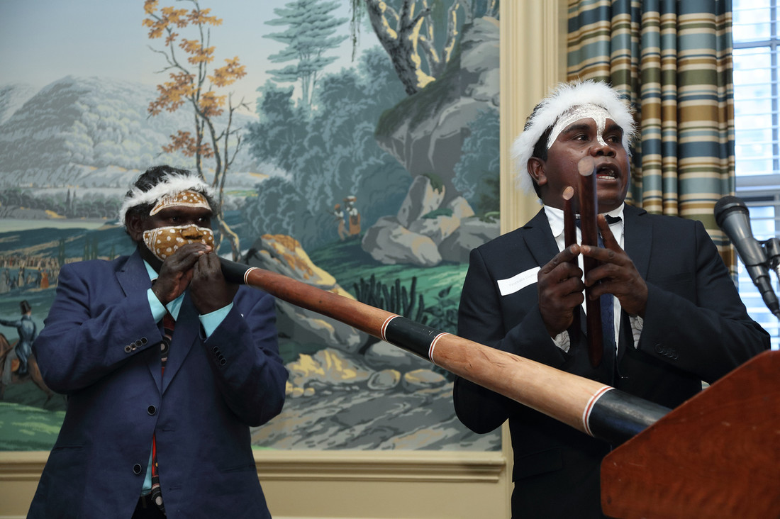 Wukun Wanambi and Yinimala Gumana performing a traditional Yolngu song at a reception to celebrate the launch of Madayin at the Yale Club of NYC in May