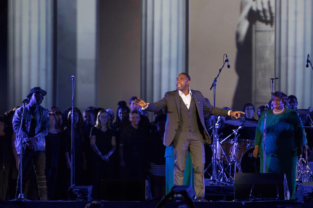 Jason George (College '94) reciting Martin Luther King, Jr.'s I Have a Dream Speech