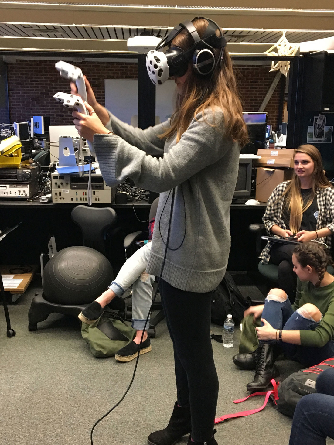 Archaeology student using virtual reality glasses
