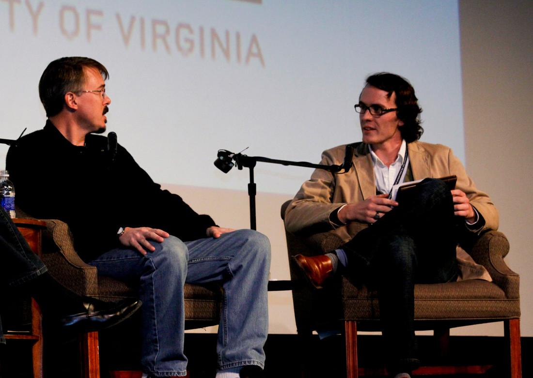Wesley Harris on stage with creator and writer Vince Gilligan and executive producer Mark Johnson for a discussion of Breaking Bad, 2010 VFF.