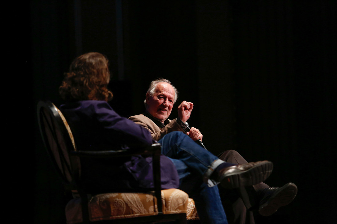A converstaion with Werner Herzog on stage for the Virginia Film Festival