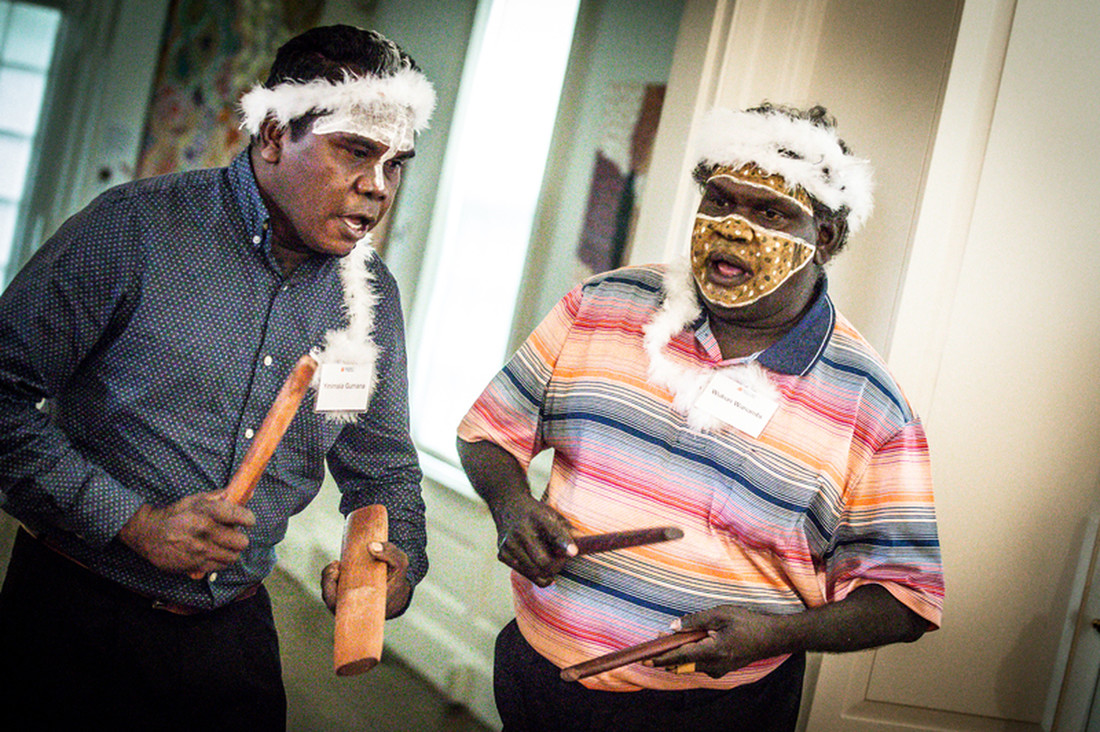 Yinimala Gumana and Wukun Wanambi, Yolngu artists from Yirrkala, Northern Territory, Australia, perform traditional Yolngu songs during a special event at Kluge-Ruhe in September 2017.